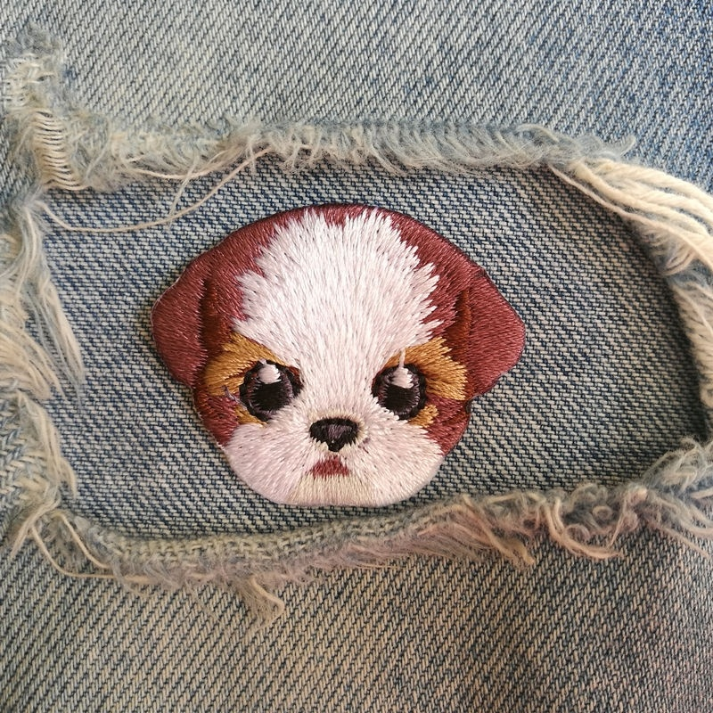 1 PIC 4.4*3.6CM LOVELY Cloth Embroidered STICKER DIY Shih Tzu DOG Badge Clothing Decorative Patch