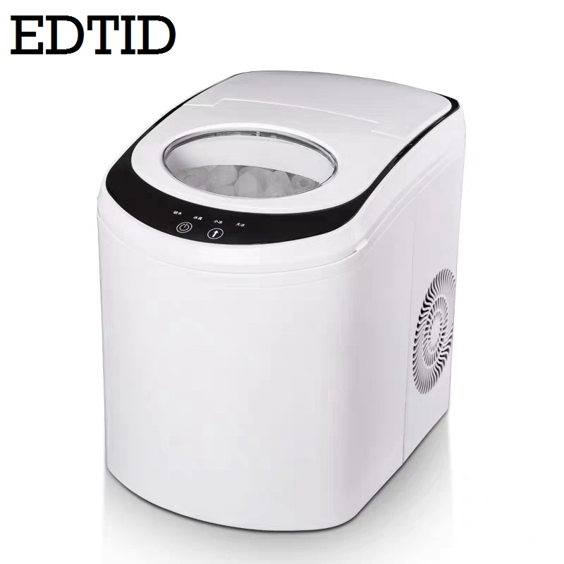 EDTID Commercial Automatic Ice Maker Electric Bullet Round Block Ice Cube Making Machine 15kg/24H Small Bar Coffee Teamilk Shop