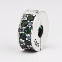 925 Sterling-Silver-Gioielli FAI DA TE Perline per Fare Gioielli Mosaico Brillante Eleganza Spacer Charm con Multi-Colored cristallo e CZ