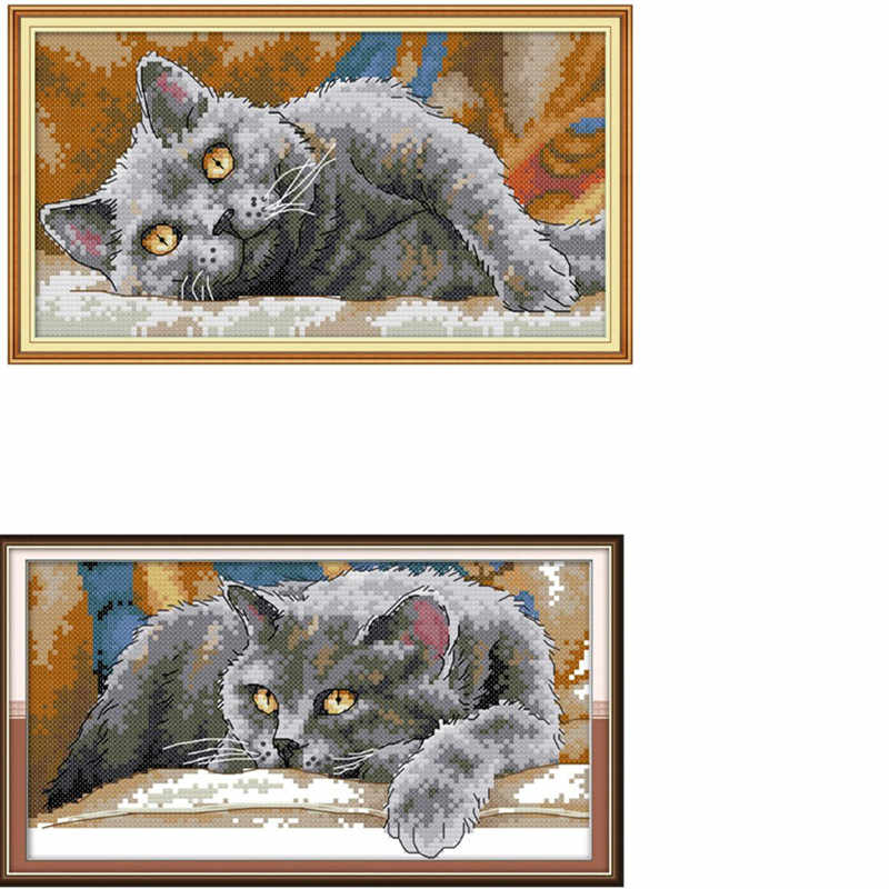 Lazy Cat   Handmade Needlework Counted 14CT Printed Cross Stitch Embroidery Kit Set Home Decoration