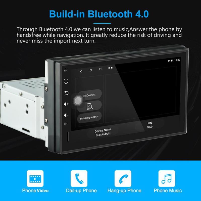1 DIN Bluetooth voiture stéréo GPS Navigation 7 pouces TFT écran tactile Android 8.1 2 GB + 16 GB unité principale WiFi USB AM FM RDS Radio - 5