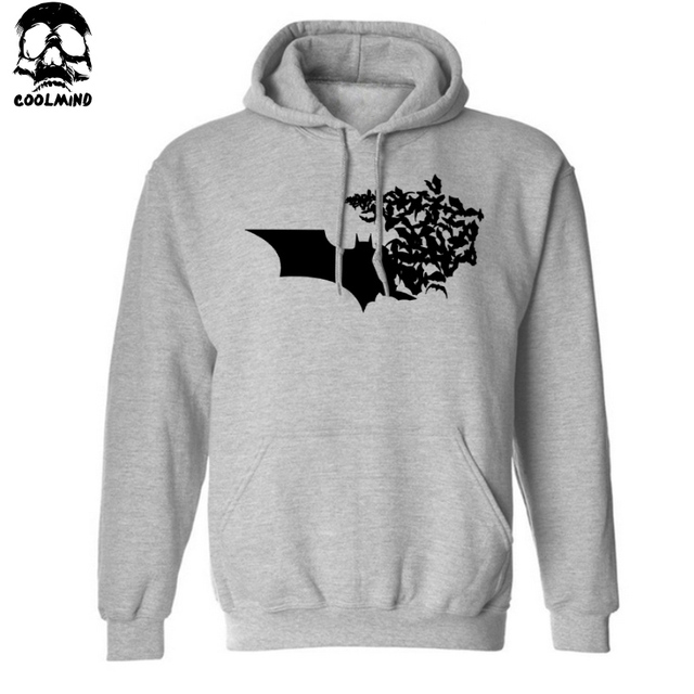 big size cotton blend BATMAN print men sweatshirt fleece casual mens hoodies and sweatshirt with hat 2016 H01