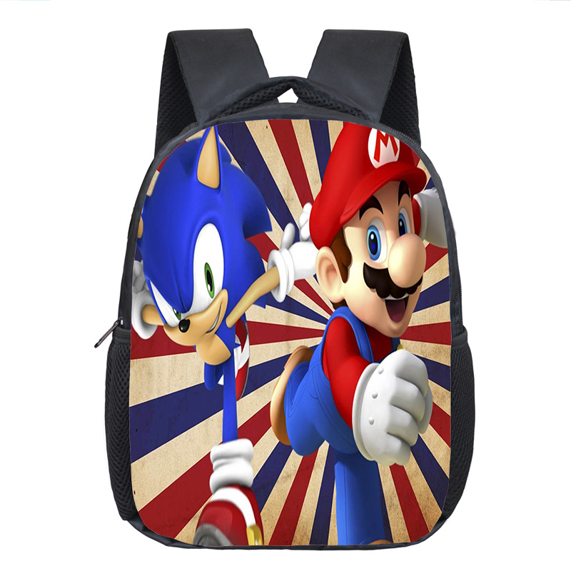Cartoon Mario / Sonic Backpack Children School Bags Baby Toddler Backpack Kids Kindergarten Bag Boys Girls Bookbag Best Gift