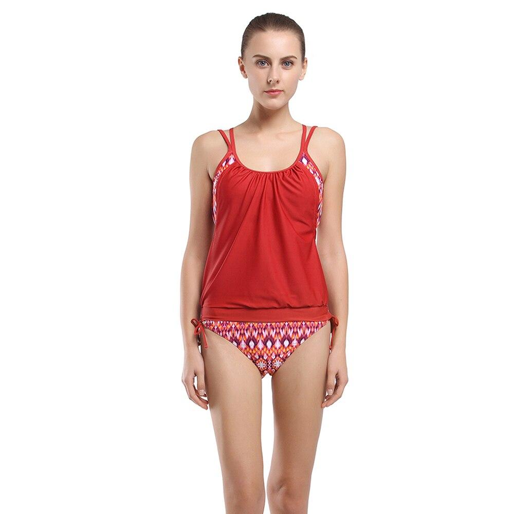 Double Up Tankini Set Women Sesy Swimwear Push Up Swimsuit Low Waist Bottom Bathing Suit Print Tie Side Pants Beach Swim Wear