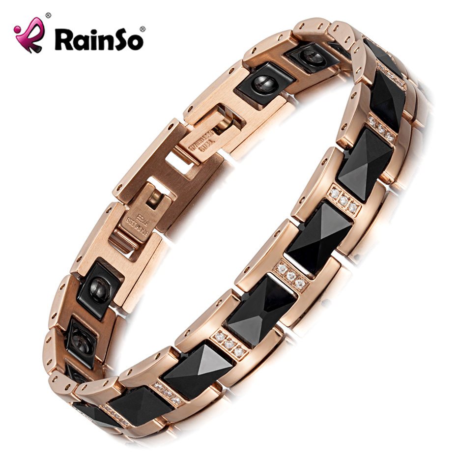 RainSo Female Bracelet Stainless Steel Crystal Bracelets for Women Hematite Magnetic Therapy Ladies Health Magnetic Bracelet 38 new fashion bio health care magnetic therapy bracelet stainless steel magnetic bracelet germanium fir anion women bangle