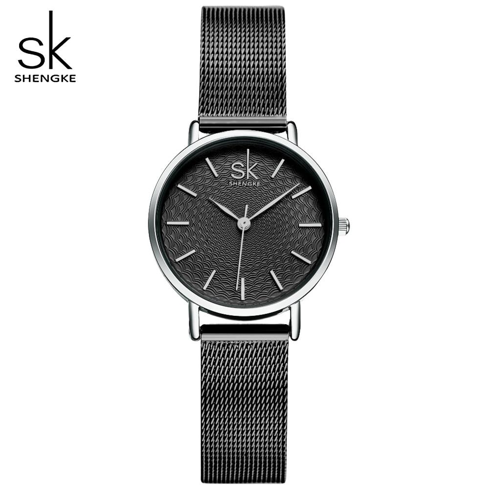 Relojes de acero inoxidable de malla negra ultradelgados para mujer elegantes relojes de lujo minimalismo reloj Casual para mujer reloj de pulsera femenino