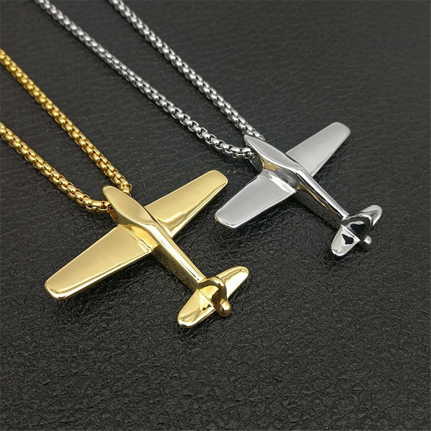 Hip Hop Men Women Gold Color Airplane Pendant With Stainless Steel Chain Aircraft Necklace For Unisex Vogue Jewelry image
