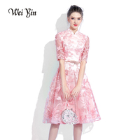 WEIYIN Pink Cocktail Dress Lace Knee Length Party High Neck A line Short Party Formal Gowns