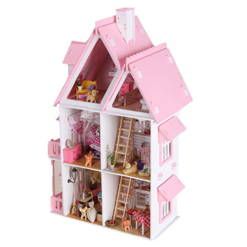 Perabot DIY Doll House Wodden Miniatura Doll Houses Furniture Kit - Anak patung dan aksesori - Foto 3