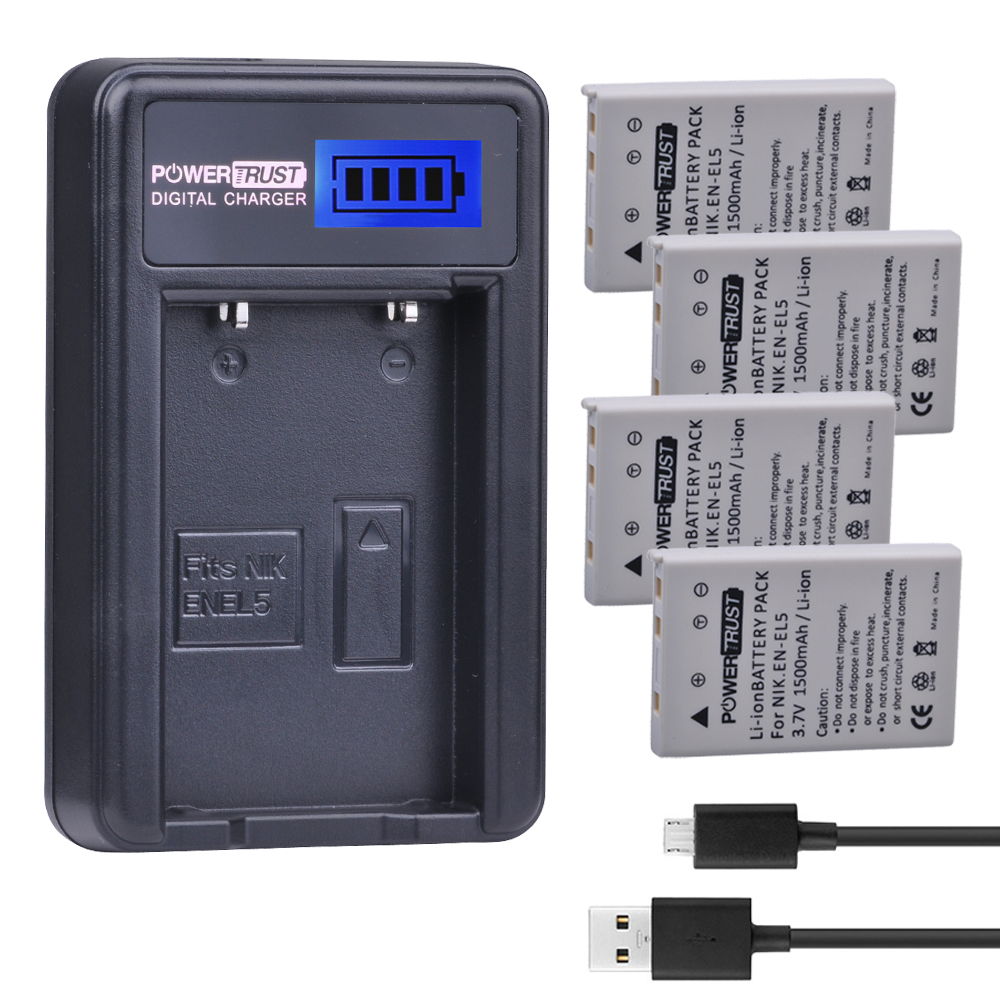 4Pcs 3 7V EN EL5 ENEL5 Camera Battery LCD USB Charger For NIKON Coolpix P530 P520