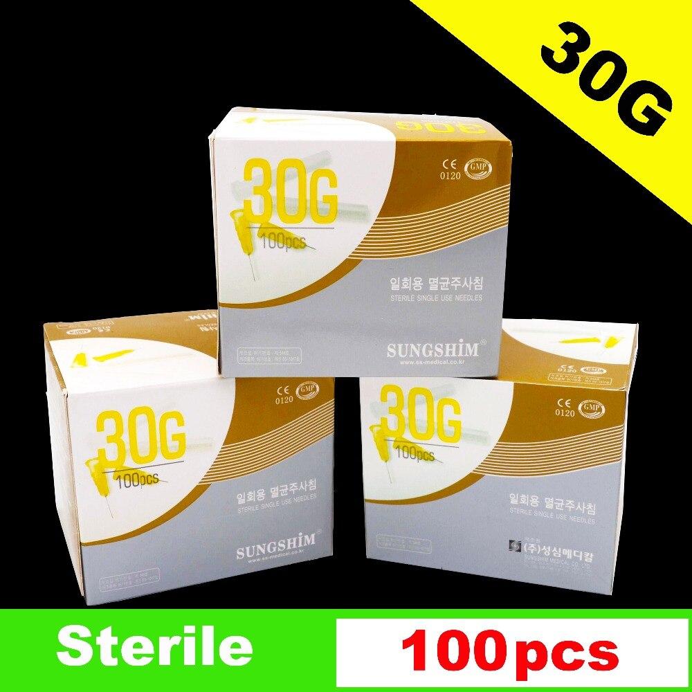 100 piece, 30G * 4mm, 30G * 13mm, 30G * 25mm Agulhas de seringas