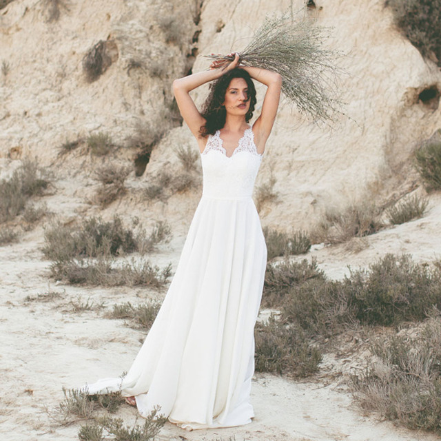 abcb8afd7e LORIE Beach Wedding Dress V Neck Lace A-line Chiffon Simple Wedding Gown  Custom Made
