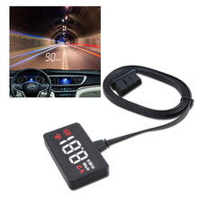 A100 Car HUD Head Up Display OBD2 II ECU OBD2 Overspeed Warning System Projector Windshield Auto Electronic Voltage Alarm цена