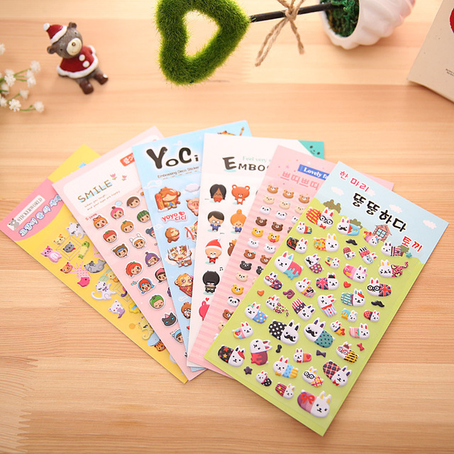 1 pcs multi styles lovely animal 3d bubble stickers cute cartoon cellphone sticker creative diy