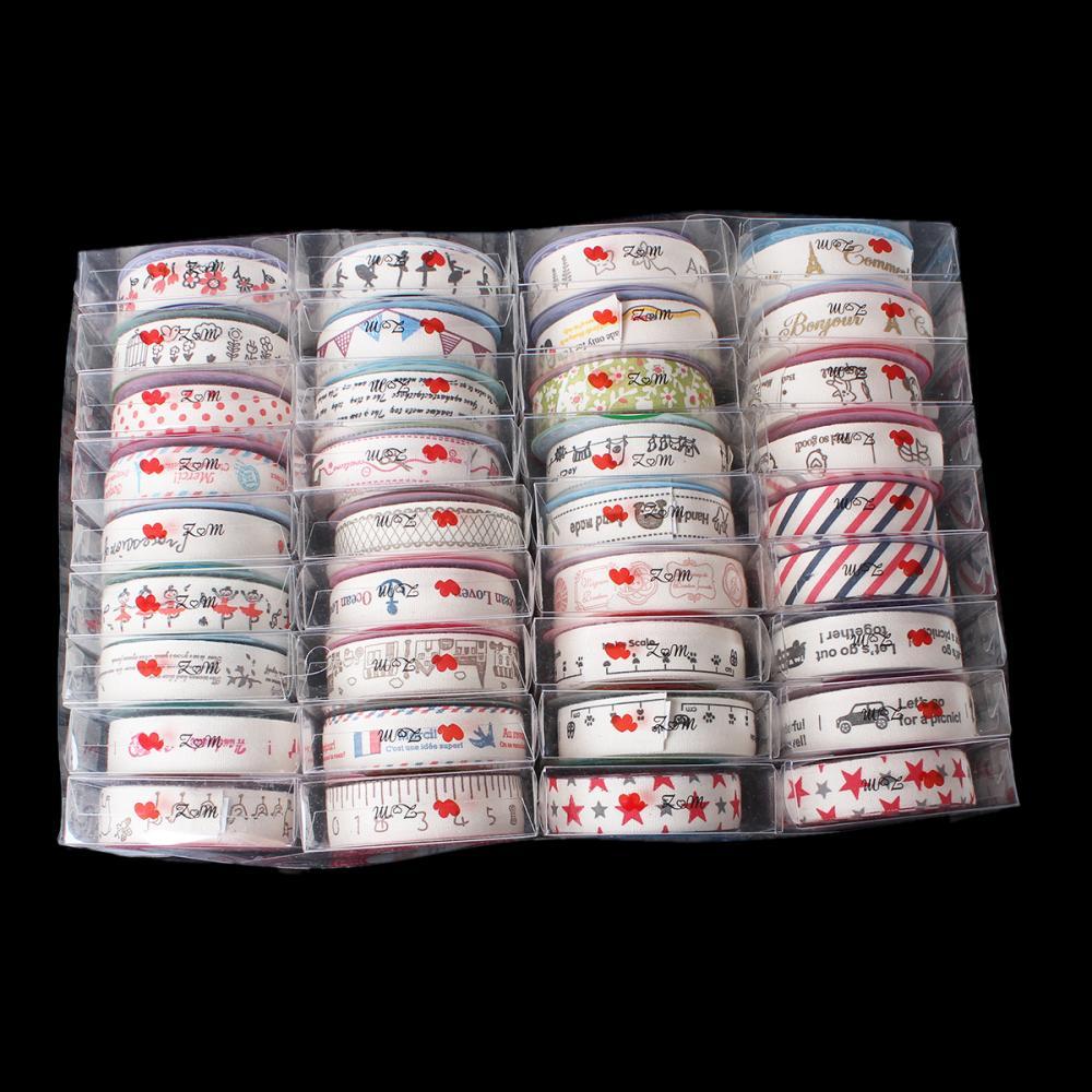 DoreenBeads coton couture tissu ruban fait main bricolage artisanat au hasard mixte auto-adhésif 26.0 cm x 17.5 cm, 1 boîte (Aprx 36 rouleaux)