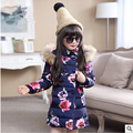 Children's clothing Kids girls winter coat 2016 NEW Medium and long Hooded Middle age children fashion big flower Cotton