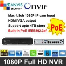 1080P FHD mini NVR PoE cctv system 4ch 8ch 9ch P2P ONVIF Support hik-vision Dahua etc. multi-brand IP camera GANVISV GV-TM8041P