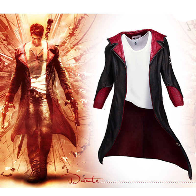 DMC Dante Cosplay Costume Leather Trench Long Jacket With Sleeveless Sweater Vest for Women Men