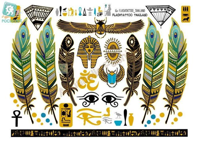 Rocoo Книги по искусству A6080-001 Большой Золотой tatuagem тела Книги по искусству Временные татуировки Стикеры s Египет Стиль перо Винтаж блеск татуировки Стикеры