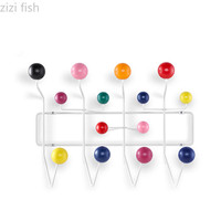 Nordic Danish Candy Hanger Color Racks Iron Hat Coats Wood Ball Wall Hanging Hook Metal Coat Rack Coat Hooks Hangers key hook