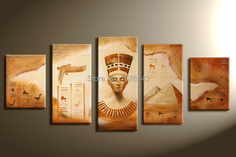 Sand Oil Painting On Canvas Pharaohs And Pyramids 5 Pcs Modern Hand Painted Egyptian Wall