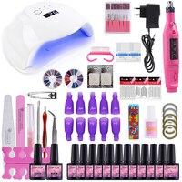 Nail Set 54W UV LED Lamp Dryer With Nail Drill Machine Kit Soak Off Manicure Set Gel Nail Polish For Nail Art Tools