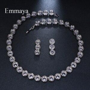 Image 4 - Emmaya marka wspaniała okrągła biżuteria z białego złota kolor AAA sześcienne zestawy biżuterii ślubnej z cyrkonią dla miłośników narzeczonych popularna biżuteria prezent