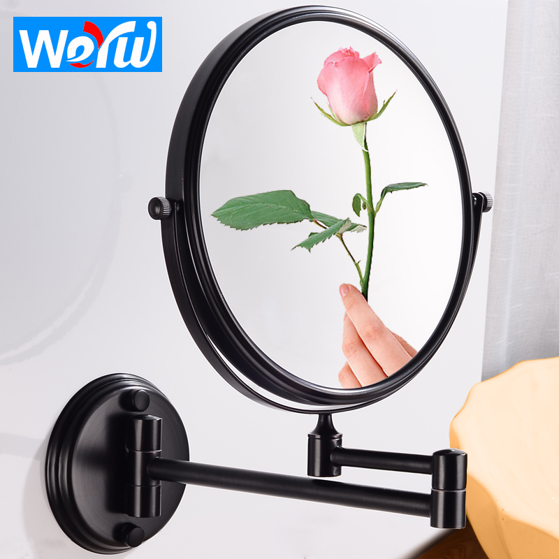 Bathroom Mirror Black Cosmetic Makeup Mirror Wall Mounted Stainless Steel 8 inch Folding Magnifying MirrorAdjustable Distance