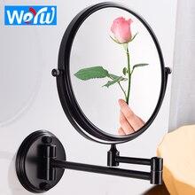 Зеркало для ванной комнаты черное косметическое зеркало для макияжа настенное из нержавеющей стали 8 дюймов складное увеличительное зеркало регулируемое расстояние