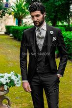 New Arrival Fashion Wedding Suits For Men Italian Design Mens Black Suits Jacket Pants Vest Formal Dress Wedding Groom Tuxedos
