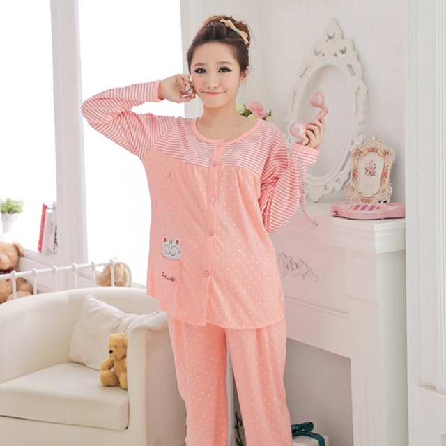 a0bb1e838cddf Hot Sale Long Sleeve Maternity Pajamas Set Cute Cat Breastfeeding Clothes  for Pregnant Women Comfy Nursing Sleepwear