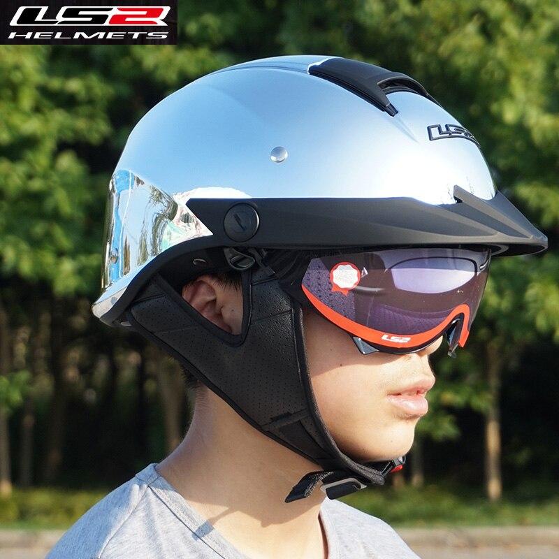 100% подлинные LS2 HH590 восстание половина лица мотоциклетный шлем с внутренним солнцезащитный козырек Харли ретро старинные открытым лицом шлемы
