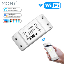 MOES Smart Light Switch DIY WiFi Wireless Remote Control  Universal Breaker Timer Smart Life APP Works with Alexa Google Home diy wifi smart light switch universal breaker timer wireless remote control works with alexa google home smart home automation