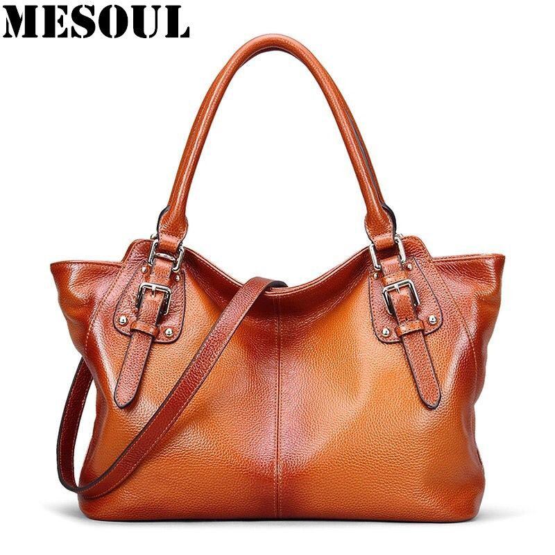 Woman Handbags Genuine Leather Bag Female Vintage Design Trapeze Shoulder Bags Women Cow Leather Large Capacity Casual Tote Bag