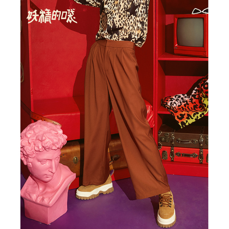 ELF SACK New Oversized Woman Pants Casual Drawstring Wide Leg Pants Solid Fashion Women Trousers Streetwear Office Lady Pants