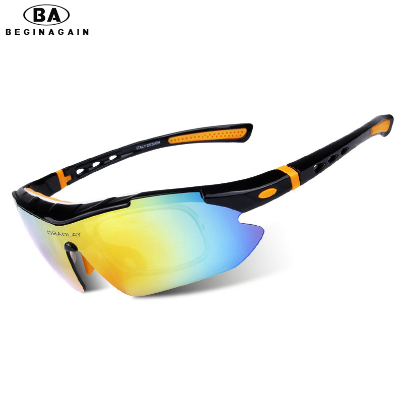 5009d6d8fa24 BEGINAGAIN Sport Cycling Eyewear 5 lenses Glasses polarized Outdoor  Activity Bike Sun Eyeglass Windproof Goggles For Men