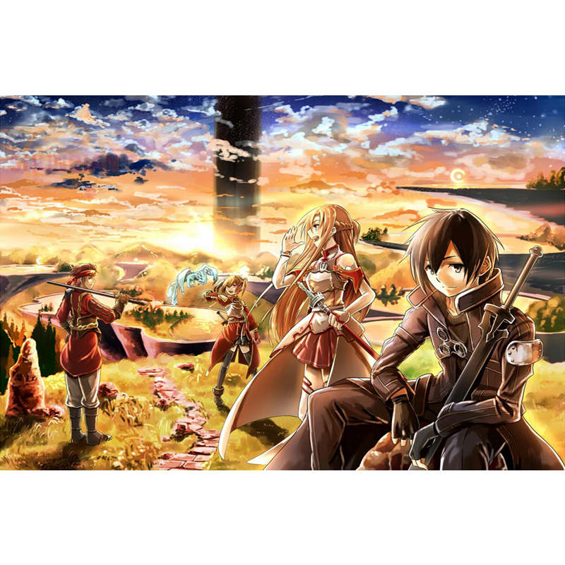 Sword Art Online Fighting Japan Anime Poster Custom Canvas