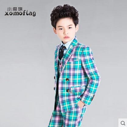 2015 fashion baby plaid casual blazers jacket wedding suits for boys ...