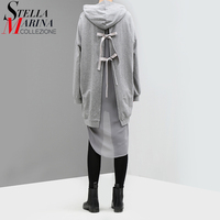 2017 New Autumn Women Grey Long Hooded Blouse Shirt With Lining Long Sleeved Open Back Bows
