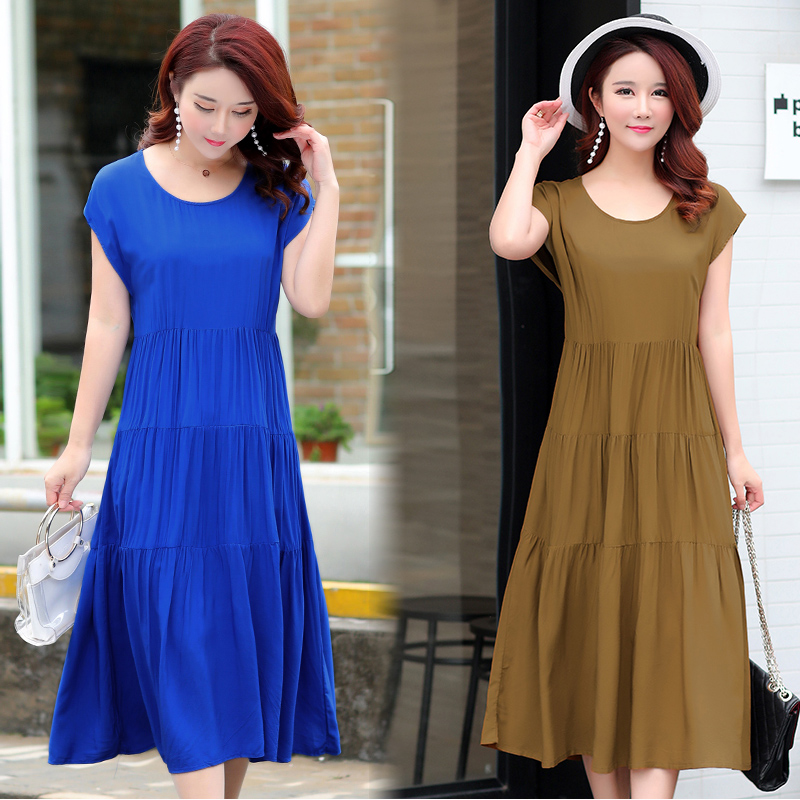 B Plus size S-4XL new summer women cotton silk dress plant flower embroidered casual loose beach