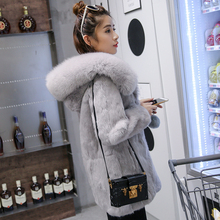 Fur coat female whole skin rabbit fur long fox fur hooded