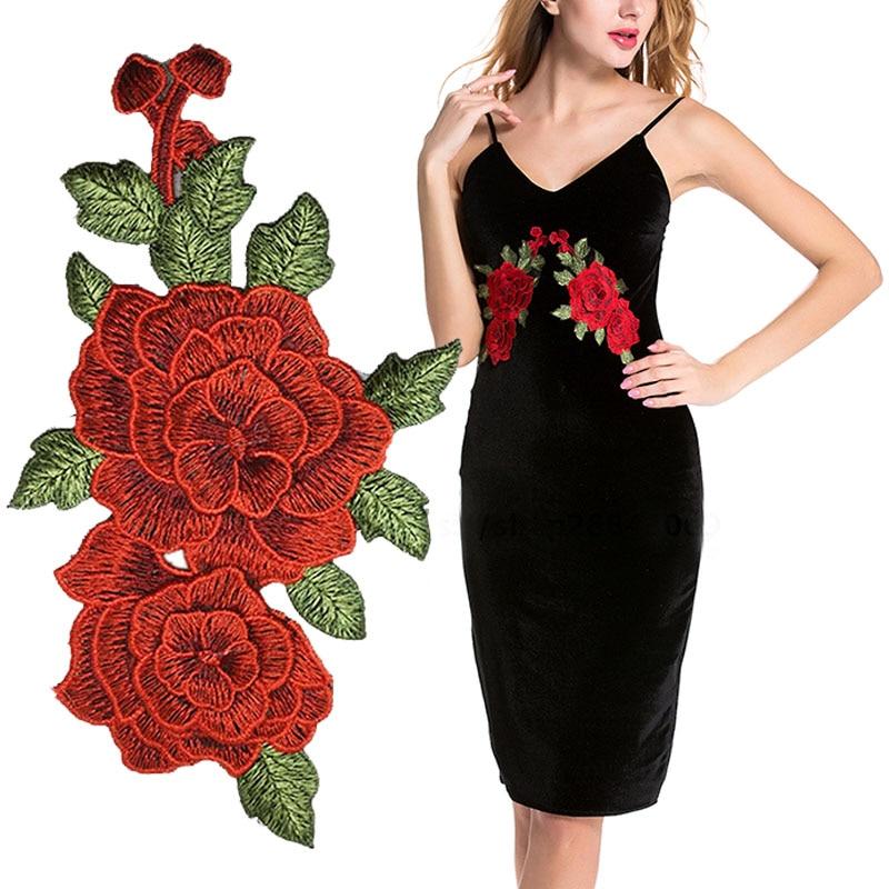 Vruća rasprodaja 1pair žene ukras novi šivanje crvena ruža - Umjetnost, obrt i šivanje