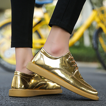 Vogue New Gold Leather Casual Men Shoes Bling Man Footwear Breathable Lace  Up Sneakers Shoes For 7769148dea79
