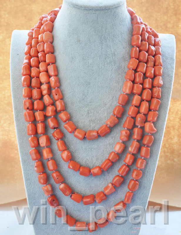 """natural 100"""" 13x15mm massive pink coral NECKLACE"""