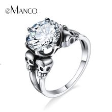 e-Manco 925 Sterling Silver Four Skull Rings Unisex Wedding&Engagement Punk Glass Stone Rings New Arrival(China)