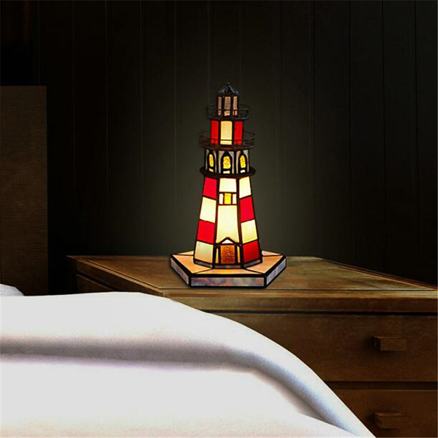 Lighthouse Nightlight Stained Glass Lampshade Tiffany European Led