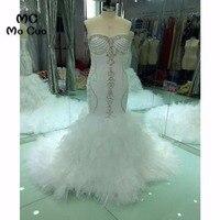 Trumpet 2017 Mới nhất mới Wedding Dresses Bridal Gowns Tinh Thể Nặng Đính Cườm bằng Handmade Sweetheart vestido de noiva Wedding Dress