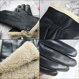 Image 4 - עור אמיתי כפפות נשי חדש חורף כבש קשמיר כבש אישה כפפות קצר סגנון בתוספת קטיפה לעבות להתחמם NW181
