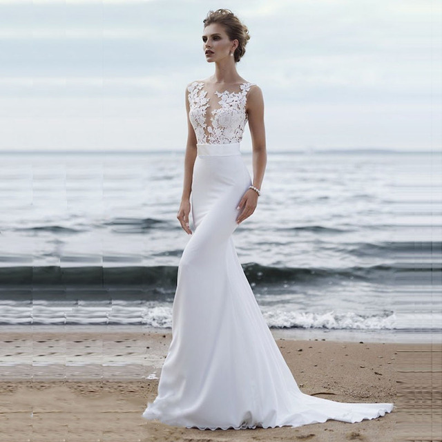 Beach Wedding Dresses 2019 Boho Mermaid Wedding Gown Scoop Appliques Lace Princess Bride Dress Custom Made Plus size