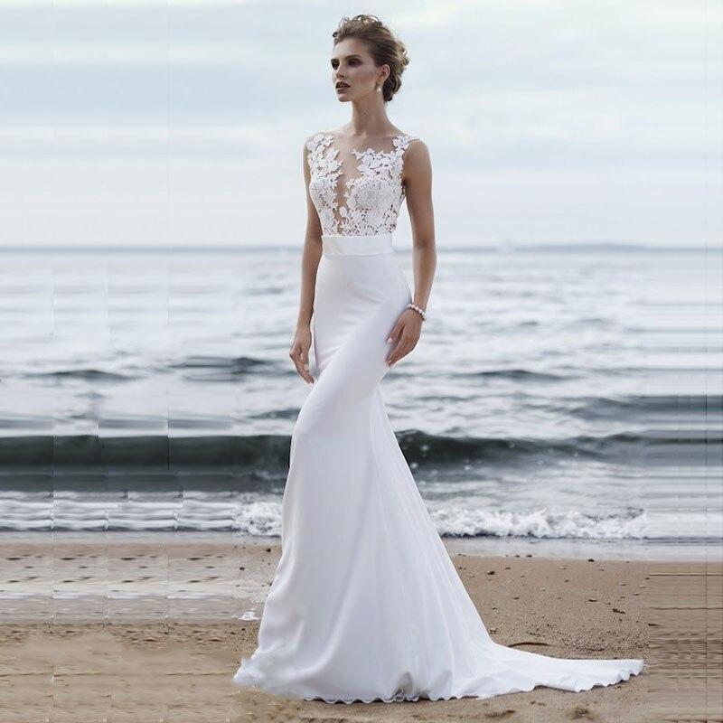 514682b72 LORIE playa vestidos de boda 2019 Boho vestido de novia de sirena Scoop  Apliques de encaje